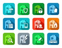 Security of housing and office buildings, icons, colored, flat. Stock Images
