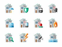 Security of housing and office buildings, icons, colored. Stock Images