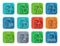 Security of housing and office buildings, icons, contour, colored. Safety of living and working space. White vector, line icons on color background with a Stock Photos