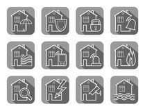 Security of housing and office buildings, icons, contour, gray. Safety of living and working space. White vector, line icons on gray background with shadow Stock Images