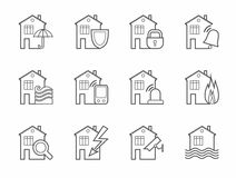 Security of housing and office buildings, icons, contour. Safety of living and working space. Vector monochrome linear icons on white background Royalty Free Stock Photo
