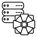 Security icon, server protection icon royalty free illustration