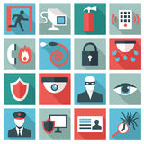 Security icon. Set of 16 security icons. Flat design Stock Images