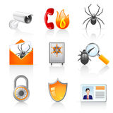 Security icons. Set of 9 colorful security icons Royalty Free Stock Photo