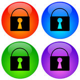 Security icons. With locks in different colors Royalty Free Stock Images