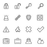 Security icons. Set of simple contour security icons. Bitmap picture with additional vector file Royalty Free Stock Photos
