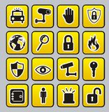 Security icons. Yellow security buttons over gray  background. vector Stock Photo