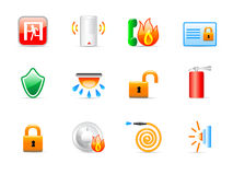 Security icons. Set of 12 colorful security icons Royalty Free Stock Photography