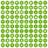 100 security icons hexagon green. 100 security icons set in green hexagon isolated vector illustration Royalty Free Stock Images