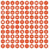 100 security icons hexagon orange. 100 security icons set in orange hexagon isolated vector illustration Royalty Free Stock Photos
