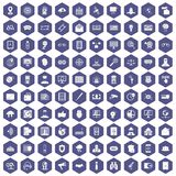 100 security icons hexagon purple. 100 security icons set in purple hexagon isolated vector illustration royalty free illustration