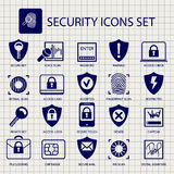 Security icons on notebook page Stock Photography