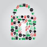 Security icons in padlock shape Stock Image