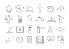 Security icons set. Set of 24 security icons Royalty Free Stock Image