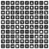 100 security icons set black. 100 security icons set in black color isolated vector illustration royalty free illustration