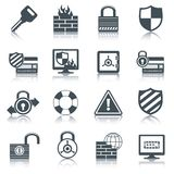 Security icons set black Stock Image