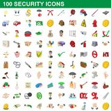 100 security icons set, cartoon style. 100 security icons set in cartoon style for any design illustration vector illustration