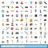 100 security icons set, cartoon style. 100 security icons set in cartoon style for any design vector illustration Stock Photography