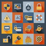 Security icons set flat Royalty Free Stock Photos