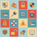 Security icons set flat line Royalty Free Stock Photos