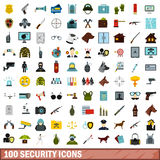 100 security icons set, flat style. 100 security icons set in flat style for any design vector illustration Royalty Free Stock Image