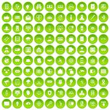 100 security icons set green. 100 security icons set in green circle isolated on white vectr illustration royalty free illustration