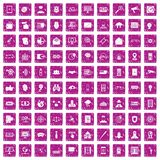 100 security icons set grunge pink. 100 security icons set in grunge style pink color isolated on white background vector illustration Stock Image