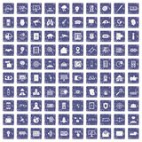 100 security icons set grunge sapphire. 100 security icons set in grunge style sapphire color isolated on white background vector illustration Vector Illustration