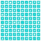 100 security icons set grunge blue. 100 security icons set in grunge style blue color isolated on white background vector illustration royalty free illustration
