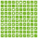 100 security icons set grunge green Stock Images