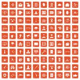 100 security icons set grunge orange. 100 security icons set in grunge style orange color isolated on white background vector illustration Royalty Free Illustration