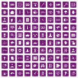 100 security icons set grunge purple. 100 security icons set in grunge style purple color isolated on white background vector illustration Royalty Free Stock Photo