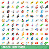 100 security icons set, isometric 3d style Royalty Free Stock Photos