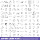 100 security icons set, outline style. 100 security icons set in outline style for any design vector illustration Royalty Free Stock Images