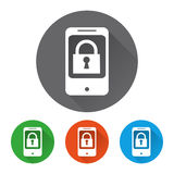 Security icons set with phone. Vector illustration Stock Photo