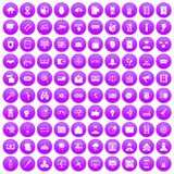 100 security icons set purple. 100 security icons set in purple circle isolated on white vector illustration Royalty Free Stock Photos