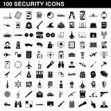 100 security icons set, simple style. 100 security icons set in simple style for any design vector illustration Royalty Free Stock Photos