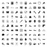 Security 100 icons set for web. Flat stock illustration