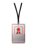 Security ID pass. On a black lanyard. Isolated on white, ready for your text Stock Photos
