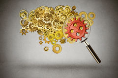Security idea generation concept gears under magnifying glass stock image