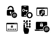Authentication icons set 01 in Black and White. Security identity authentication icons set 01 in Black and White Stock Photos