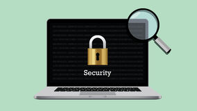 Security illustration with padlock and laptop magnifying glass Royalty Free Stock Photo