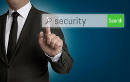 Security internet browser is operated by businessman Royalty Free Stock Image