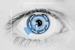 Security Iris Scanner on Blue Human Eye. Abstract Security Iris or Retina Scanner being used on an Intense Macro Blue Human Eye, with Limited Palette Royalty Free Stock Image