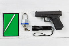 Security items placed on desktop Stock Photos