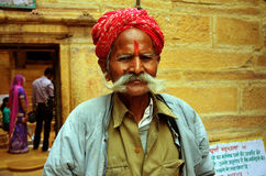 Security in Jaisalmer temple royalty free stock image