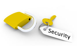 Security key. Golden key with unlocked golden padlock and tag with Security written on it Stock Photography