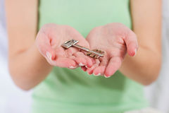 Security Key on Palm Stock Photo