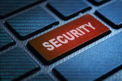 Security keyword on keyboard. Security keyword concept on computer keyboard technology background macro shot vector illustration