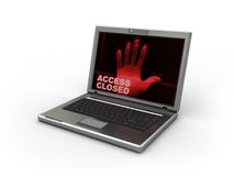 Security laptop. 3d illustration of laptop with dactyloscopy software on white background Royalty Free Stock Images
